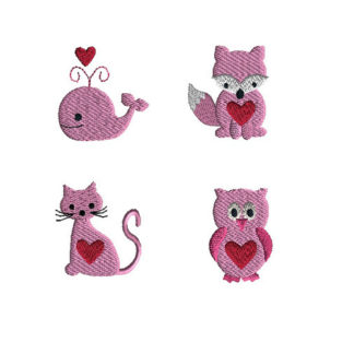 Mini Valentine Animal 2 Machine Embroidery Design Set