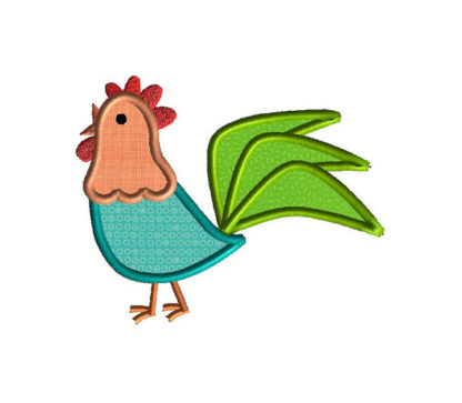 Rooster Applique Machine Embroidery Design 2