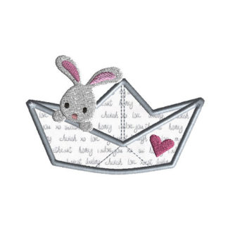 Paper Boat Bunny Applique Machine Embroidery Design 1
