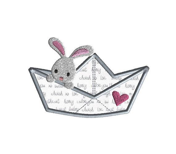 Paper Boat Bunny Applique Machine Embroidery Design 1