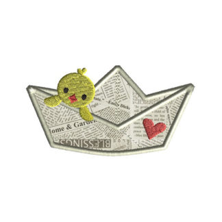 Paper Boat Chick Applique Machine Embroidery Design 1