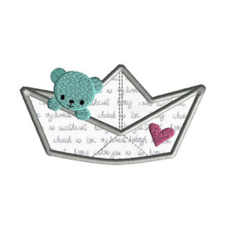 Paper Boat Bear Applique Machine Embroidery Design 1