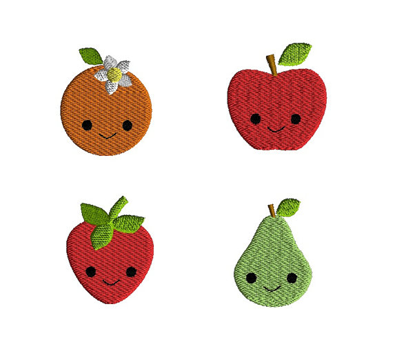 Mini Fruit with Kawaii Faces Machine Embroidery Design Set