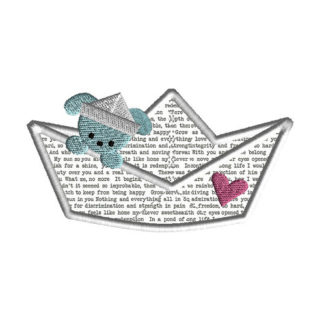 Paper Boat Puppy Applique Machine Embroidery Design 1