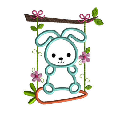Bunny Swing Applique Machine Embroidery Design 2