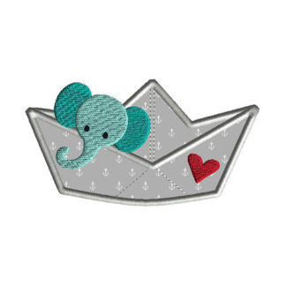 Paper Boat Elephant Applique Machine Embroidery Design 1