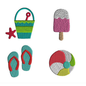Mini Summer Machine Embroidery Design Set