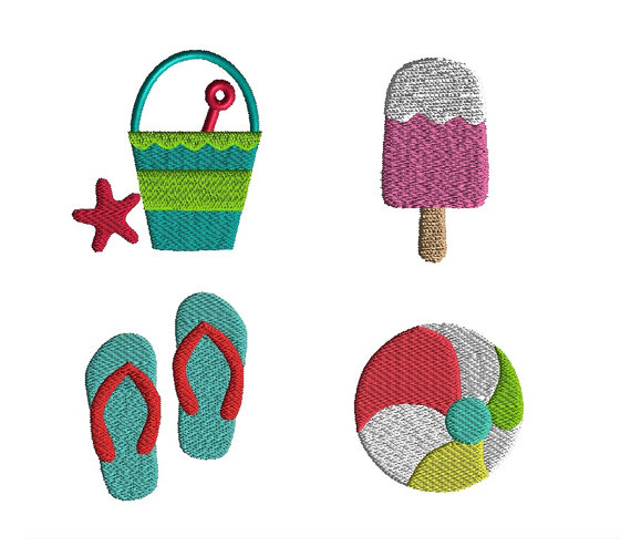 Mini summer machine embroidery design set for Beach house embroidery design