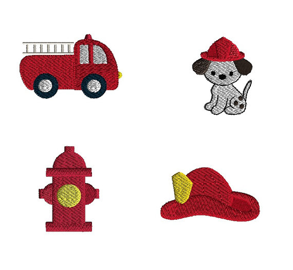 Mini Fireman Machine Embroidery Design Set