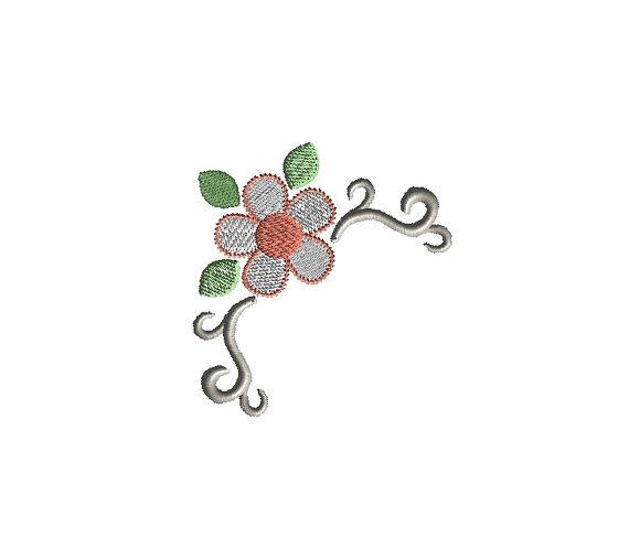 Flower Corner 3 Applique Machine Embroidery Design 1