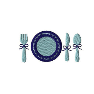 Mini Dinner Table Setting Machine Embroidery Design Set