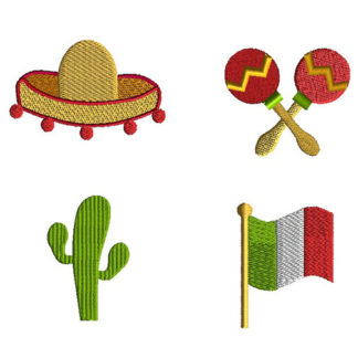 Mini Cinco de Mayo Machine Embroidery Design Set