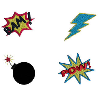 Mini Super Hero Elements Machine Embroidery Design Set