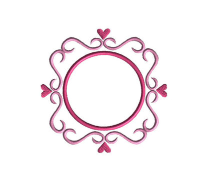 Swirls and Heart Font Frame Applique Machine Embroidery Design 2