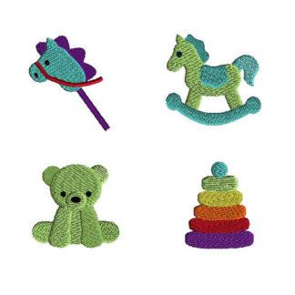 Mini Retro Toys Machine Embroidery Design Set