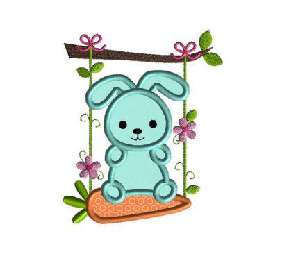 Bunny Swing Applique Machine Embroidery Design 1