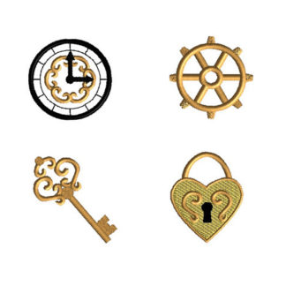 Mini Vintage Style Clock, Lock, Key, Gear Machine Embroidery Design Set