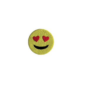 Mini Emoji Smile with Heart Eyes Machine Embroidery Design
