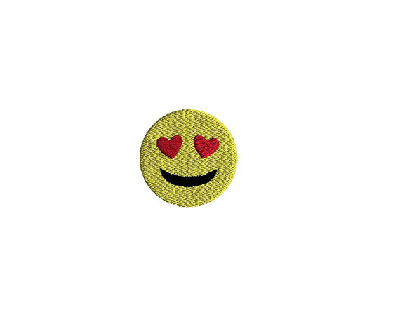 Mini Emoji Smile with Heart Eyes Machine Embroidery Design