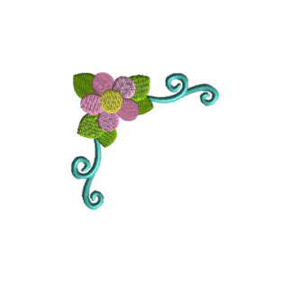 Flower Corner 2 Applique Machine Embroidery Design 1
