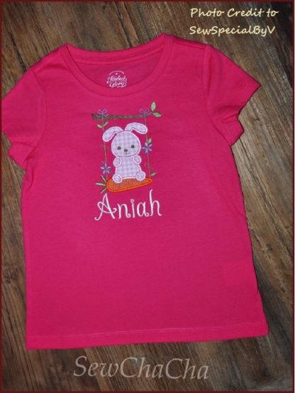 Bunny Swing Applique Machine Embroidery Design 4