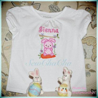 Bunny Swing Applique Machine Embroidery Design 3