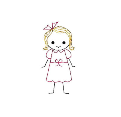 Boy and Girl Stick Figures Applique Machine Embroidery Design 2