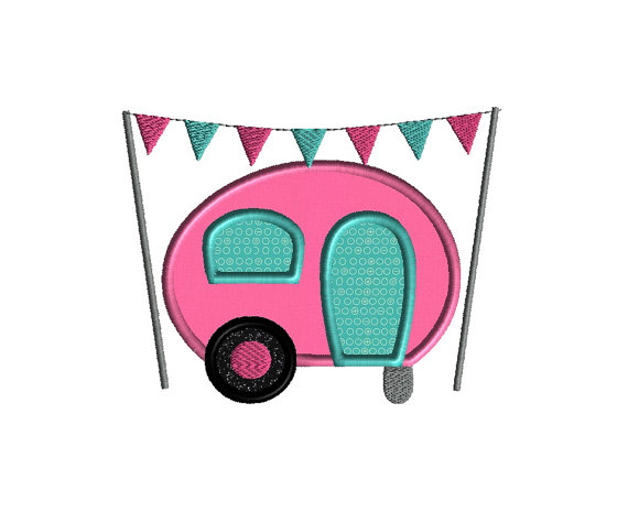 Camper Applique Machine Embroidery Design 1