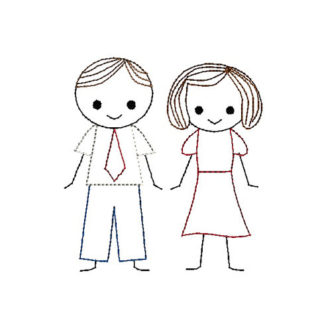 Father (Man) and Mother (Woman) Stick Figures Applique Machine Embroidery Design 1