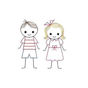 Boy and Girl Stick Figures Applique Machine Embroidery Design 1