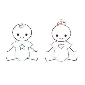 Baby Boy and Girl Stick Figures Applique Machine Embroidery Design 1