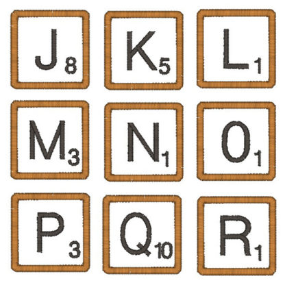 Scrabble Tile Font Applique Machine Embroidery Design 3