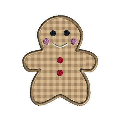Baby Gingerbread Applique Machine Embroidery Design 1