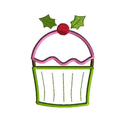 Christmas Cupcake Applique Machine Embroidery Design 2