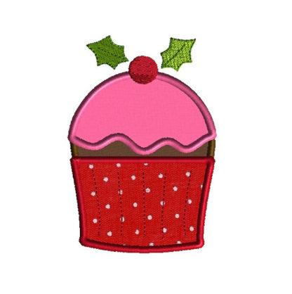 Christmas Cupcake Applique Machine Embroidery Design 1
