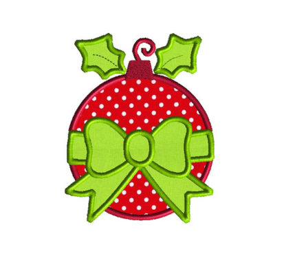 Bauble and Bow Ornament Applique Machine Embroidery Design 1