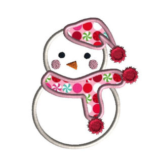 Snowman II Applique Machine Embroidery Design 1