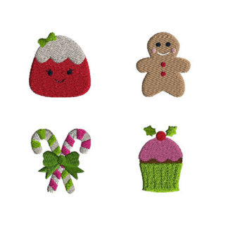 Mini Christmas Sweets Machine Embroidery Design Set