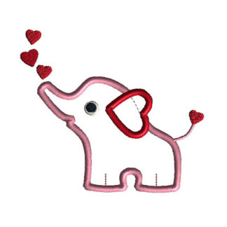 Valentine Elephant Applique Machine Embroidery Design 1