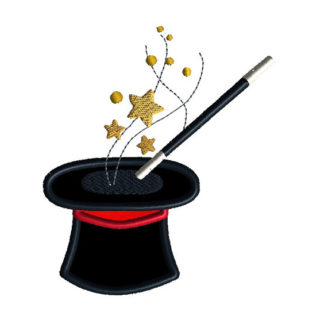Magician Hat Applique Machine Embroidery Design 1