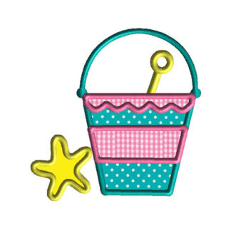 Beach Pail Applique Machine Embroidery Design 1