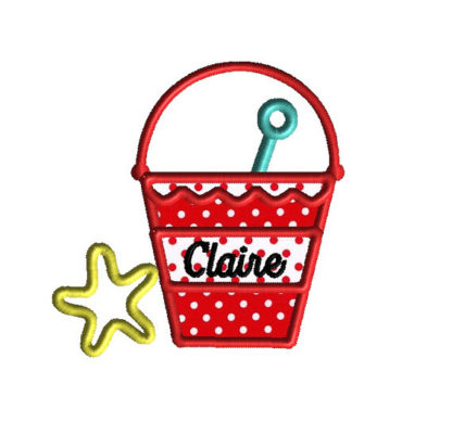 Beach Pail Applique Machine Embroidery Design 2