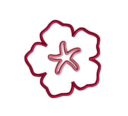 Hibiscus Applique Machine Embroidery Design 2