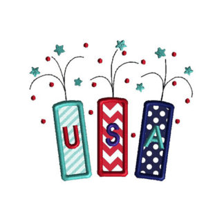 USA Fireworks Applique Machine Embroidery Design 1