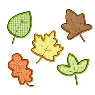 5 Fall Leaves Applique Machine Embroidery Design 1