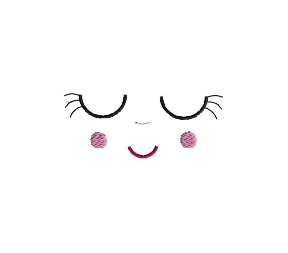 Sleeping Doll Face Applique Machine Embroidery Design