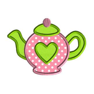 Teapot Love Applique Machine Embroidery Design 1