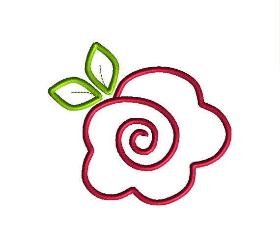 Rose applique machine embroidery design