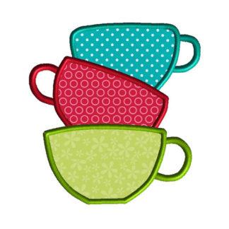 Tea Cups Applique Machine Embroidery Design 1