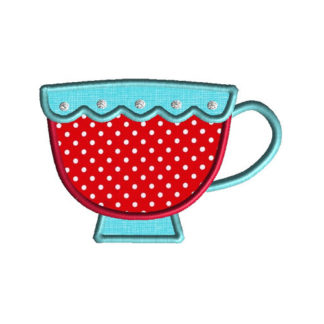 Teacup Applique Machine Embroidery Design 1